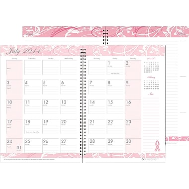 House of Doolittle® Breast Cancer Awareness Academic Monthly Planner/Journal, 7x10in., 2014-2015