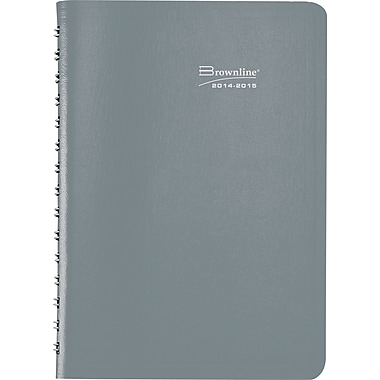 2014-2015 Brownline, Academic Daily Planner, 8in. x 5in., Gray