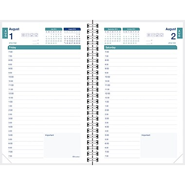 2014-2015 Brownline, Academic Daily Planner, 8in. x 5in., Blue