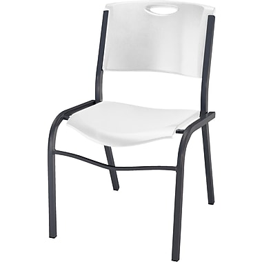 Lifetime Resin Stacking Chair, White Granite