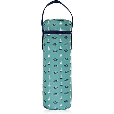 Blue Avocado (eco) Wine Tote, Green Nautical