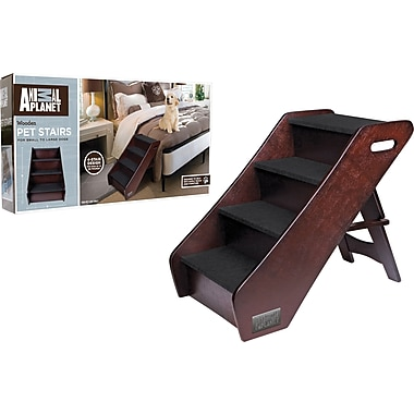 Animal Planet Espresso Finish Wood Pet Staircase Dog Step Ladder with Handles