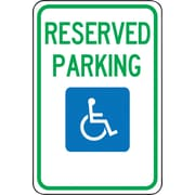 "Accuform Signs® 18"" x 12"" Aluminum Federal Sign ""RESERVED PARKING W/GRAPHIC"", Green/Blue On White"