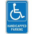 Accuform Signs® 18in. x 12in. Aluminum Federal Sign in.HANDICAPPED PARKING W/GRAPHICin., White On Blue