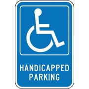 "Accuform Signs® 18"" x 12"" Aluminum Federal Sign ""HANDICAPPED PARKING W/GRAPHIC"", White On Blue"