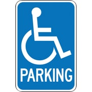 "Accuform Signs® 18"" x 12"" Aluminum Federal Sign ""RESERVED HANDICAPPED W/GRAPHIC"", White On Blue"