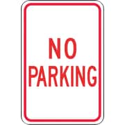 "Accuform Signs® 18"" x 12"" Reflective Aluminum Parking Sign ""NO PARKING"", Red On White"