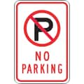 Accuform Signs® 18in. x 12in. Reflective Aluminum Parking Sign in.(SYMBOL) NO PARKINGin., Black/Red On White