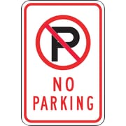 "Accuform Signs® 18"" x 12"" Reflective Aluminum Parking Sign ""(SYMBOL) NO PARKING"", Black/Red On White"