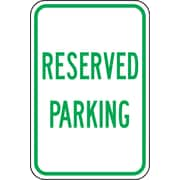 "Accuform Signs® 18"" x 12"" Reflective Aluminum Designated Parking Sign ""RESERVED.."", Green On White"