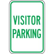 "Accuform Signs® 18"" x 12"" Reflective Aluminum Designated Parking Sign ""VISITOR.."", Green On White"