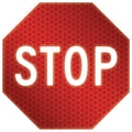 Accuform Signs® 24in. x 24in. Engineer Grade Prismatic Aluminum Stop Sign in.STOPin., White On Red