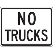 "Accuform Signs® 18"" x 24"" Reflective Aluminum Facility Traffic Sign ""NO TRUCKS"", Black On White"