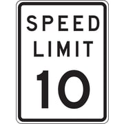 "Accuform Signs® 18"" x 12"" Prismatic Aluminum Speed Limit Sign ""SPEED LIMIT 10"", Black/Gray On White"