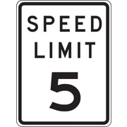 "Accuform Signs® 24"" x 18"" Prismatic Aluminum Speed Limit Sign ""SPEED LIMIT 5"", Black/Gray On White"