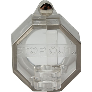 Accuform Signs® STOPOUT® Push Button Lockout With 22.5 mm Base With Steel Hinge Pin, Clear