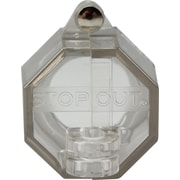 Accuform Signs® STOPOUT® Push Button Lockout With 30 mm Base and Steel Hinge Pin, Clear