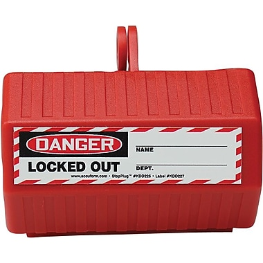 Accuform Signs® STOPOUT® StopPlug™ 110 VAC Plug Lockout, Red