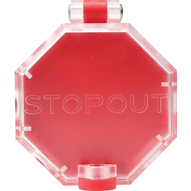 Accuform Signs® STOPOUT® Versatile Pneumatic Plastic End Fittings Lockout With Hinge Pin, Red/Clear