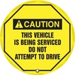 "Accuform Signs® 20"" Steering Wheel Message Cover ""CAUTION THIS VEHICLE IS BEING.."", Black On Yellow"
