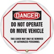 Accuform Signs® 16in. Vinyl OSHA Steering Wheel Cover in.DANGER DO NOT OPERATE..in., Black/Red On White