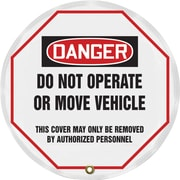 "Accuform Signs® 16"" Vinyl OSHA Steering Wheel Cover ""DANGER DO NOT OPERATE.."", Black/Red On White"
