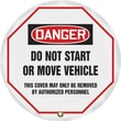 Accuform Signs® 16in. Vinyl OSHA Steering Wheel Cover in.DANGER DO NOT START..in., Black/Red On White
