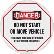 "Accuform Signs® 16"" Vinyl OSHA Steering Wheel Cover ""DANGER DO NOT START.."", Black/Red On White"