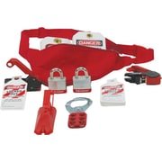 Accuform Signs® Lockout/Tagout Pouch Kit With Front Zipper, Adjustable Waist Strap, Red