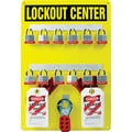 Accuform Signs® Lockout Center Board With Kit and 12 Padlock, Black On Yellow