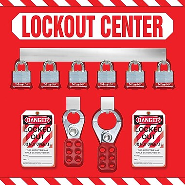 Accuform Signs® Lockout Store Board With Kit and 6 Padlock, Red/White