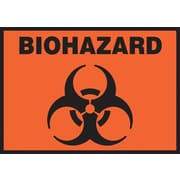 "Accuform Signs® 3 1/2"" x 5"" Adhesive Vinyl Safety Label ""BIOHAZARD"", Black On Orange, 5/Pack"
