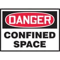 Accuform Signs® 3 1/2in. x 5in. Adhesive Vinyl Safety Label in.DANGER CONFI..in., Red/Black On White, 5/Pack