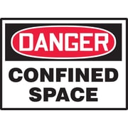 "Accuform Signs® 3 1/2"" x 5"" Adhesive Vinyl Safety Label ""DANGER CONFI.."", Red/Black On White, 5/Pack"