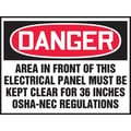 Accuform Signs® 3 1/2in. x 5in. Adhesive Vinyl Safety Label in.DANGER AREA..in., Red/Black On White, 5/Pack