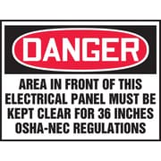 "Accuform Signs® 3 1/2"" x 5"" Adhesive Vinyl Safety Label ""DANGER AREA.."", Red/Black On White, 5/Pack"