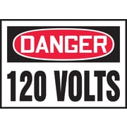 "Accuform Signs® 3 1/2"" x 5"" Adhesive Vinyl Safety Label ""DANGER 120 V.."", Red/Black On White, 5/Pack"