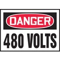 Accuform Signs® 3 1/2in. x 5in. Adhesive Vinyl Safety Label in.DANGER 480 V..in., Red/Black On White, 5/Pack