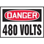 "Accuform Signs® 3 1/2"" x 5"" Adhesive Vinyl Safety Label ""DANGER 480 V.."", Red/Black On White, 5/Pack"