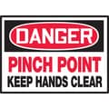 Accuform Signs® 3 1/2in. x 5in. Adhesive Vinyl Safety Label in.DANGER PINC..in., Red/Black On White, 5/Pack