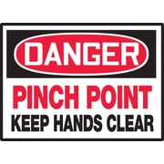 "Accuform Signs® 3 1/2"" x 5"" Adhesive Vinyl Safety Label ""DANGER PINC.."", Red/Black On White, 5/Pack"