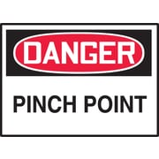 "Accuform Signs® 3 1/2"" x 5"" Adhesive Vinyl Safety Label ""DANGER PINCH.."", Red/Black On White, 5/Pack"