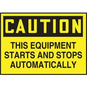 "Accuform Signs® 3 1/2"" x 5"" Adhesive Vinyl Safety Label ""CAUTION THIS E.."", Black On Yellow, 5/Pack"