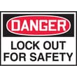Accuform Signs® 3 1/2in. x 5in. Adhesive Vinyl Safety Label in.DANGER LOCK..in., Red/Black On White, 5/Pack