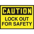 Accuform Signs® 3 1/2in. x 5in. Adhesive Vinyl Safety Label in.CAUTION LOCK OU..in., Black On Yellow, 5/Pack
