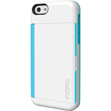 Incipio Stowaway Credit Card Case with Integrated Stand for iPhone 5c, White/Aqua