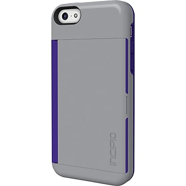 Incipio Stowaway Credit Card Case with Integrated Stand for iPhone 5c, Gray/Purple