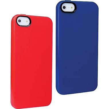 Staples, Apple iPhone 5/5S TPU Shell, Dark Blue & Red 2/Pack