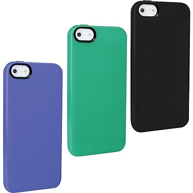 Staples, Apple iPhone 5/5S TPU Shell, Black, Green & Light Blue 3/Pack