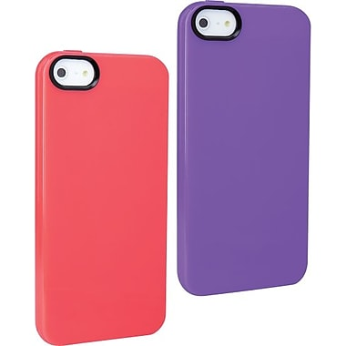 Staples, Apple iPhone 5/5S TPU Shells, Purple & Coral 2 Pack
